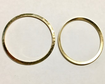 Hammered Rustic Large Rings Vintage Look Gold Plated Brass 33mm 2 pcs F442E
