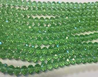 Clearance Peridot Green Crystal Mix Glass Crystal Rondelles 8x5mm Approx 35 beads