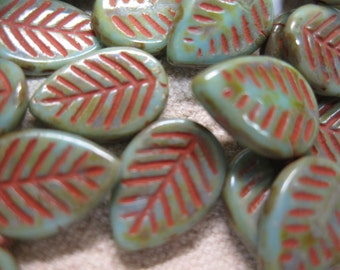 10 Green Large Flat Czech Pressed Glass Leaf Beads with Red Picasso Detail 16mm x 12mm