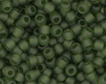 11/0 Transparent Frosted Olivine Toho Glass Seed Beads 2.5 inch tube 8 grams TR-11-940F