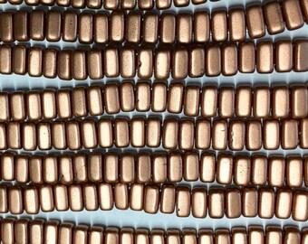 Metallic Copper CzechMates 3x6mm Bricks Czech Glass Beads Approx 50 beads