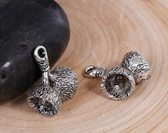 4 Acorn Cap Charms Antique Silver Nature Inspired 19mm x 9mm 4 pcs F117A
