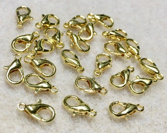 Lobster Clasps Gold Plated Lobster Claw Parrot Clasps 10mm x 5mm 24 Clasps Made in the USA 24 clasps F237B