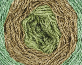 Shades of Green United Foursome Yarn Cake Lambswool Cotton by Queensland Collection Sport Weight Certified Organic 1531 yards