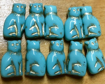 Sitting Kitty Cat Czech Pressed Glass Beads Green Turquoise with Gold Detail Double Sided 15mm 10 beads