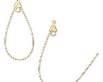 CYBER SALE 5 pairs Gold Plated Brass Smooth Teardrop with Loop Beading Hoops 40mm x 22mm F245