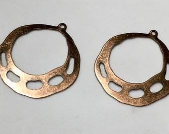 2 pairs Copper Plated Earring Hoops Art Deco 33x36mm 4 pcs F249C