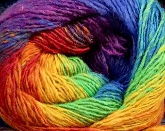 Rainbow Cascade Melilla Fingering Yarn 437 yards Super Fine Silk Wool Nylon Sock Yarn Color 01