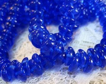 Piggy Beads Sapphire Blue Concave Lentil Czech Pressed Glass 8mm x 4mm 50 beads