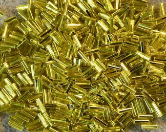 Yellow Silver Lined Japanese Glass Bugle Beads 6mm 28 grams #6