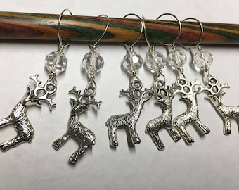 Woodland Deer Stitch Markers with Clear Crystal Glass Crystal Beads Snag Free Large Stitch Markers Fits Up to Size 15 Needles Set of 6
