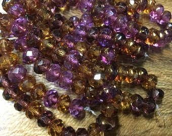Amethyst Amber Yellow Gold Czech Pressed Glass Large Faceted Rondelles 6mm x 8mm 25 beads 0730