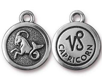 Capricorn Zodiac Antique Silver Charm TierraCast Zodiac Sign Astrology Charm Lead Free Pewter 18.75x15.75mm One Charm