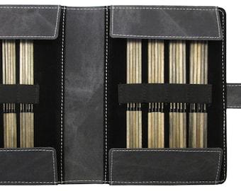 "Lykke 6"" Double Pointed Knitting Needle Set Driftwood with Grey Case Sizes 0 through 5"