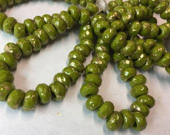 Avocado Czech Pressed Glass Large Hole Faceted Roller Beads with Gold Finish 6mm x 9mm 25 beads