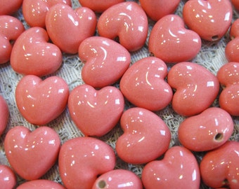 Heart Beads Pink Peruvian Ceramic Puff Heart Beads 13mm Vertical Holes 6 Beads