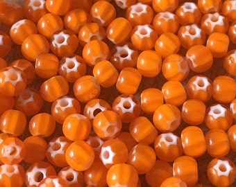 6/0 Orange Preciosa Ornela Star Cornelian Rocaille Seed Beads 4mm 12 grams