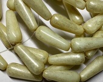 Yellow Ivory with Mercury Finish Dangle Drops Czech Pressed Glass Teardrop Beads 6x15mm 10 beads
