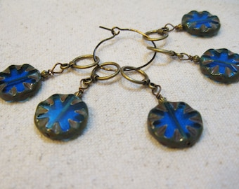 Vintage Style Dark Aqua Transparent and Carved Coin Glass Bead Snag Free Stitch Markers Set of 4