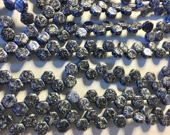 Honeycomb Beads Blue Tweed Czech Pressed Glass Hexagon Two Hole Beads 6mm 30 beads HC0625010