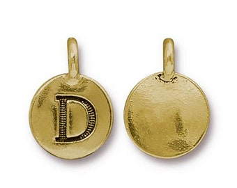 "Letter ""D"" Initial Pendant Tiny Gold Charm TierraCast Antique Gold Alphabet Charms TierraCast Lead Free Pewter 16.5x11.5mm One Charm"