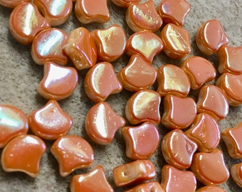 Ginko Chalk Full Apricot Czech Pressed Glass Two Hole Beads 7.5mm 35 beads