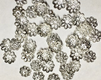 50 Silver Plated Brass Small Floral Cut Out Design Filigree Bead Caps 7mm Made in USA 50 pcs F206