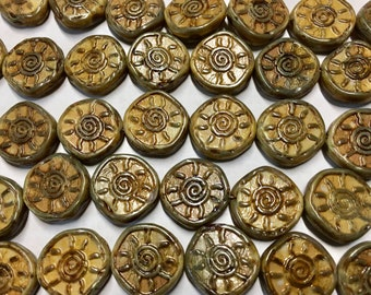 8 Opaque Brown Stone Look Sunshine Beads with Picasso Czech Glass Round Coin Beads 17mm 8 pcs