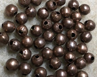 50 Antique Copper Smooth Round Beads 4mm Made in the USA F455B