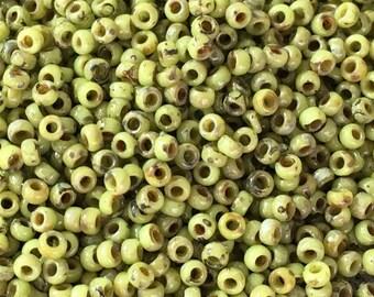 15/0 Chartreuse Picasso Miyuki Glass Seed Beads 6 inch tube 28 grams #4515