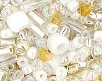 White Mix Toho Glass Seed Beads 2.5 inch tube 8 grams TX-01-3212