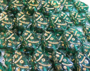 Tree Beads Emerald Green Czech Pressed Glass Christmas Holiday Tree Beads with Gold Inlay 12x17mm 25 beads