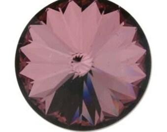 10mm Swarovski 1122 Crystal Antique Pink Faceted Foil Back Rivoli 47ss 2 pcs
