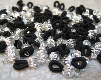 12 Silver Plated Eyeglass Chain Holders with Black Elastic Loops Made in the USA F215