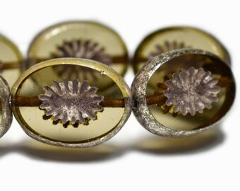 Kiwi Flower Khaki with a Silver Finish and Brown Wash Czech Pressed Carved Oval Glass Beads 14x10mm 10 beads