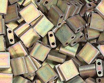 Matte Metallic Khaki Iris Miyuki 5mm Square Two Hole Tila Beads 7.2 grams