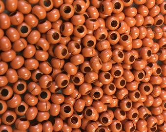 6/0 Light Orange Plated 100% Brass Round Seed Beads Made in the USA Approx 10 grams