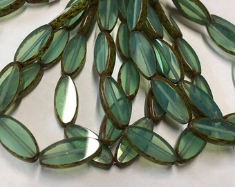 Opal Green with Picasso Czech Pressed Glass Spindle Beads 17mm x 6mm 10 beads