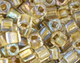 Crystal Gold Lined 3mm Toho Cube Beads 2.5 inch Tube 8 grams TC-03-262