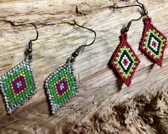 Diamond Beadwoven Earrings You Choose the Color Red Green and Silver Green Southwestern Design