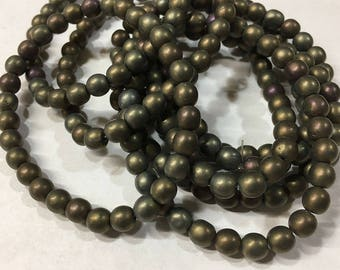 25 Matte Bronze Iris AB Czech Pressed Glass Round Druk Beads 6mm