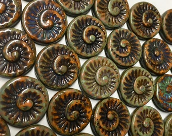 6 Opaque Orange Hyacinth Spiral Beads Czech Glass Round Coin Ammonite Nautilus Shell Swirl Beads 18mm 6 pcs