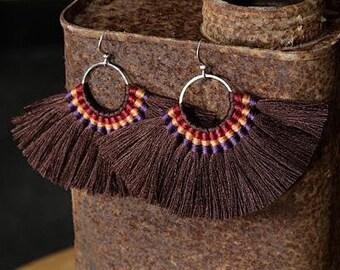 2 Zola Elements Mykonos Praline Pecan Brown Fanned Tassel on Ring Silver Finish 89x50mm 2 tassels