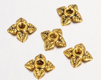 50 Antique Gold Tone 4 Petal Leafy Floral Bead Caps 6mm x 6mm F327