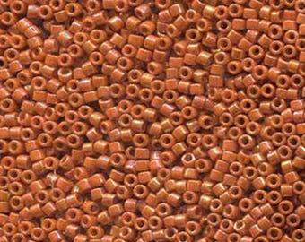 11/0 Miyuki Delica Glazed Opaque Burnt Orange Glass Seed Cylinder Beads 7.2 grams DB2274