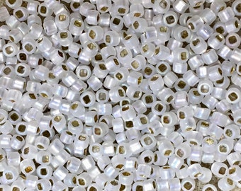8/0 Silver Lined Matte Crystal AB Japanese Glass Rocaille Seed Beads 6 Inch tube 28 grams #F635