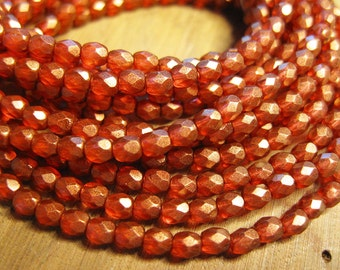 Marsala with Gold Matte Finish Czech Glass Fire polished Crystal Beads 4mm