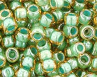8/0 Topaz Mint Julep Lined Toho Glass Seed Beads 2.5 inch tube 8 grams TR-08-380
