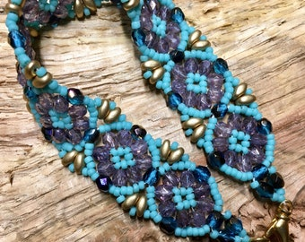 Batik Style Bead Woven Artisan Made Bracelet by Southpass Beads