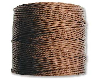 S-Lon #18 Bead Cord Brown Tex 210 Multi Filament Twisted Nylon Cord 77 yards